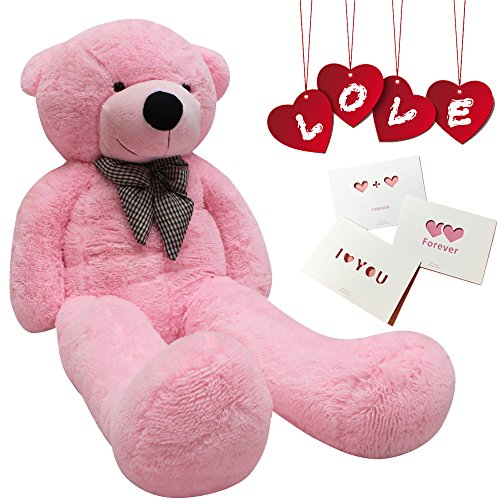 Big Cute Plush Teddy Bear Huge Plush Animals Teddy Bear Girl Children Girlfriend Valentine's Day White (24 inches, Pink)]()