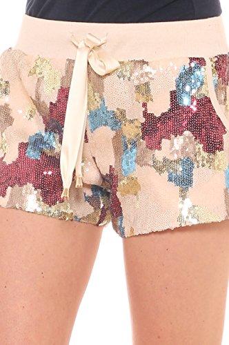 Khaki felpa paiettes e in Di camouflage Key Short fantasia qwaTTn8v