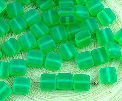 40pcs Matte Frosted Tile One Hole Flat Square Czech Glass Beads 6mm