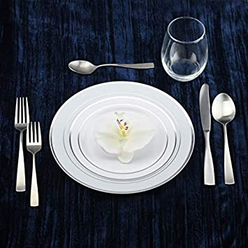 50-Pack Elegant Disposable Hard Plastic Plates 7.5-Inch Salad Dessert Plates with Elegant Gold Edge Pattern Premium Dishes for Parties /& Weddings Combo Set Includes 10.5-Inch Dinner Plates