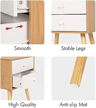 Set di 2 comodini Comodino moderno design scandinavo a 2 cassetti con gambe in legno 40x30x60 cm