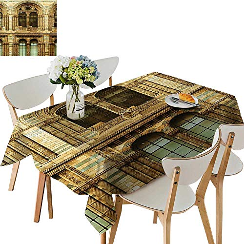 UHOO2018 Square/Rectangle Tablecloth Waterproof Polyester European City Building in L Culture Photo Print Sepia Wedding Birthday Party,54 x102inch -