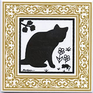 product image for CAT Tile - CAT Wall Plaque - CAT TRIVETS with Gold Victorian Border: CA-6G