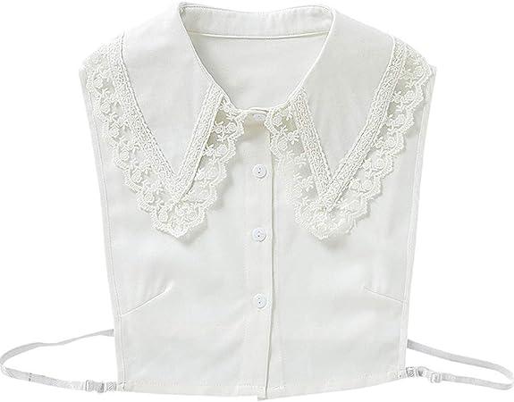 JOYKK Mujer Chica Coreano Falso Falso Collares Falsos Bordado Floral Encaje Puntiagudo Solapa Decorativa Media Camisa Blusa Extraíble - Blanco: Amazon.es: Hogar