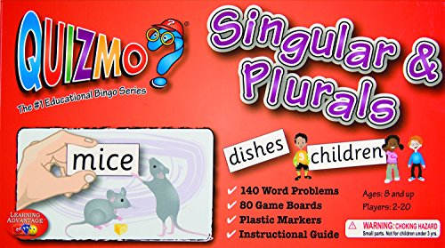 Learning Advantage 8212 QUIZMO Singular and Plurals Card