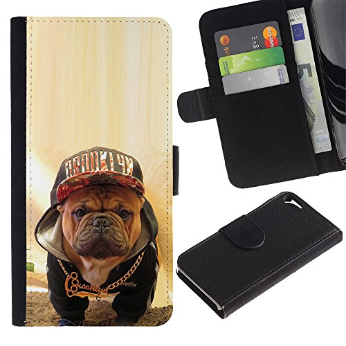 OMEGA Case / Apple Iphone 5 / 5S / Boston terrier bull French bulldog dog / Cuir PU Portefeuille Coverture Shell Armure Coque Coq Cas Etui Housse Case Cover Wallet Credit Card