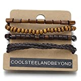Accessories Men Best Deals - Mix of 4 Brown Wrap Bracelets for Men and Women, Multi-strand Wood Beads Leather Wristbands
