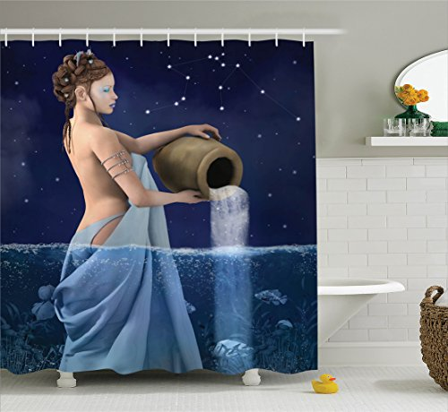 Ambesonne Astrology Decorations Shower Curtain Set, Aquarius Lady with Pail in The Sea Water Signs Saturn Mystry at Night Stars, Bathroom Accessories, 75 Inches Long, Blue Dark Blue