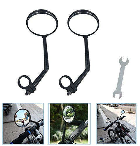 A Pair of Rearview Bicycle Mirrors, Bike Mirrors Support 360°Rotation (Suitable for Mountain Bike, Off-Road Bike and Fixed Gear Bike with The Handlebar 1.8 cm - 2 cm (0.71 in - 0.79 in) Diameter)