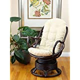 Java Swivel Rocking Chair Dark Brown with Cushion Handmade Natural Wicker Rattan Furniture