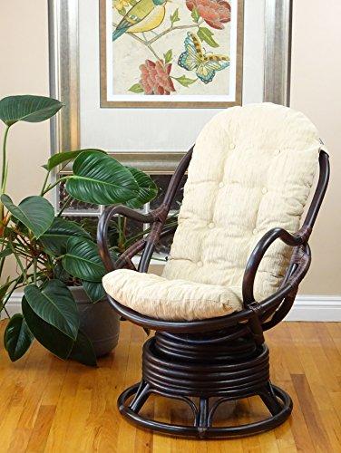 Java Swivel Rocking Chair Dark Brown with Cushion Handmade Natural Wicker Rattan Furniture