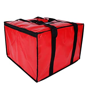 Reusable Insulated Pizza Carrier Bag for Food delivery -Foldable Heavy Duty Food Warmer Grocery Bag for Camping Catering Restaurants UberEats Doordash Grubhub Postmates (20x20x14)