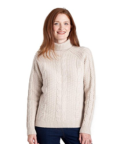 WoolOvers Womens Lambswool Chunky Cable Roll Neck Sweater Sand, L