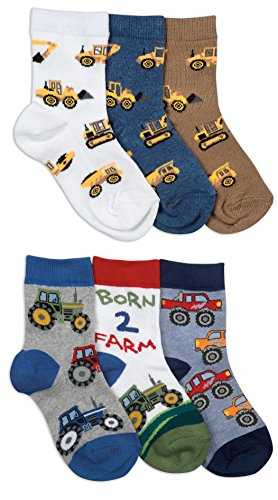 Jefferies Socks Boys Farm/Construction Pattern Socks 6 Pair Pack