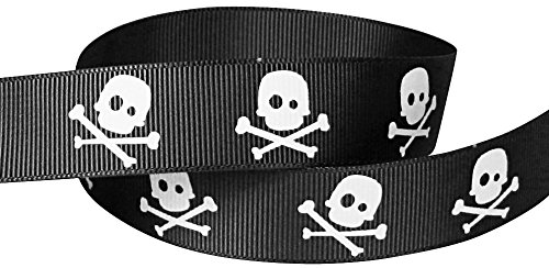 HipGirl Halloween Grosgrain or Satin Fabric Ribbon for Holiday Pirate Party Decoration, Hair Bow Accessory, Scrapbook, Match Your Costume-5 Yard 7/8 Inch Foil Metallic Skull Cross Bone, Black/White