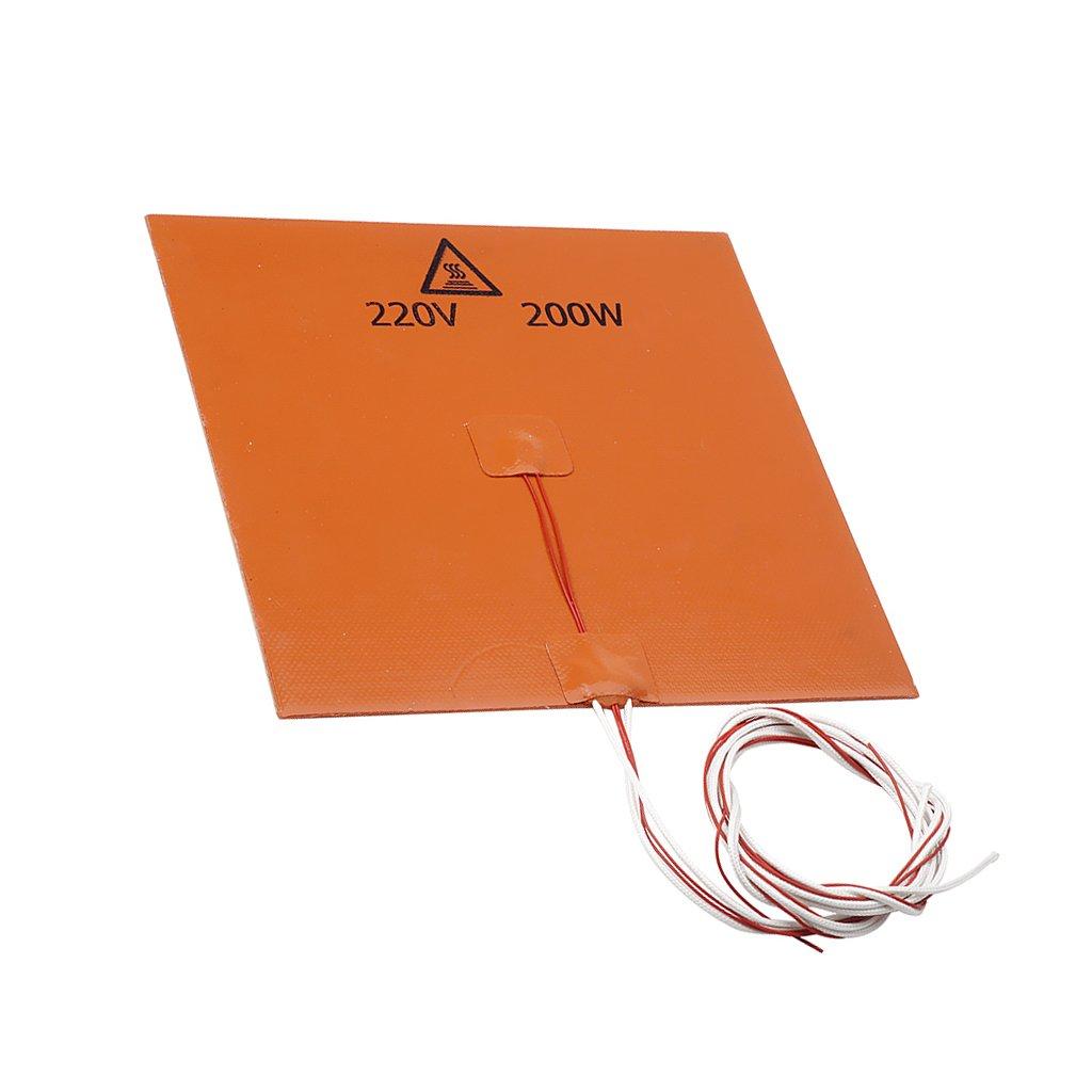 Baoblaze 200x200mm Riscaldatore Gomma Silicone 220V 200W Letto Riscaldato Attrezzi per 3D Stampante Heating Mat