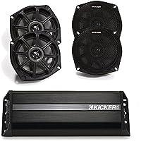 Kicker Motorcycle 5.25 Inch Speakers (2 pair) with Kicker 300 watt 4 channel Power sports amplifier