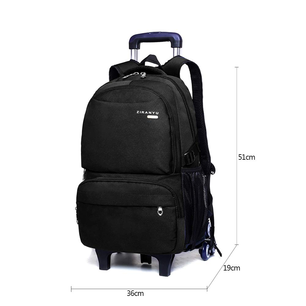 75e262bead KINDOYO Kids Backpack with Rolling Wheels - Boy s Middle School Students  Waterproof Durable Removable Trolley Backpack, Black  Amazon.com.au  Fashion