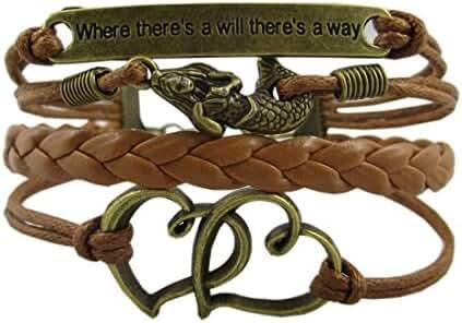 Vintage Mermaid Bracelet, Hmxpls Bronze Coffee Rope Knit Heart Adage Punk Simple Charms Bangle