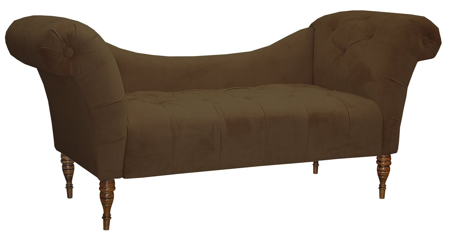 Amazon.com Skyline Furniture Roslyn Double Arm Tufted Chaise Lounge Black Velvet Kitchen u0026 Dining  sc 1 st  Amazon.com : black tufted chaise lounge - Sectionals, Sofas & Couches