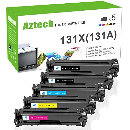 Aztech 5Pack Compatible for HP 131A 131X CF210X CF210A CF211A CF212A CF213A Toner Cartridge for HP LaserJet Pro 200 color M251nw HP M251nw HP MFP M276nw, Canon MF8280Cw LBP7110Cw Printer - (2K/C/M/Y) (Hp Laserjet Pro 200 Color Printer)