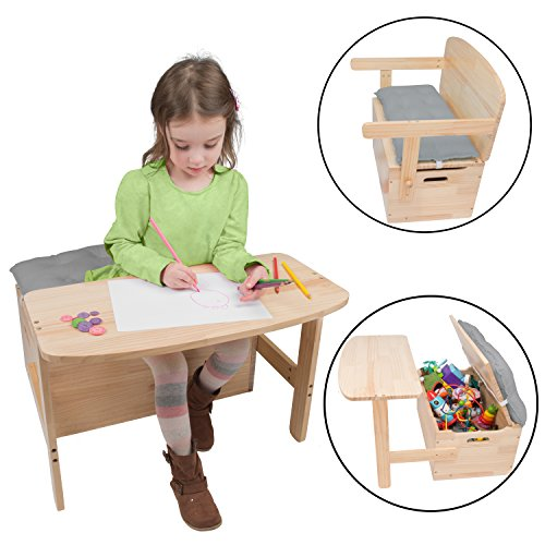 Wooden Desk and Chair Set w/ Toy Box Storage - Converts to Bench - Includes Blue Cushion 25 x 22 x 13 - Desk School Childs