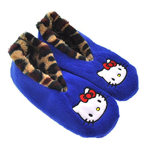 Hello Kitty Blue Cozy Slipper Socks with Flat Embroidered Applique #ZCH2742_M (Hello Kitty Blue)