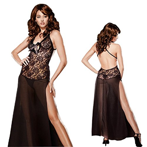 Doll Stretch Baby Dress Lace (HiSexy Women's Sexy See Through Lingerie Backless Split Halter Sleepwear Long Floral Lace Night Gown Black 4XL)