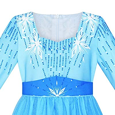 Sunny Fashion Girls Dress Snow Queen Ice Princess Costume Birthday Party: Clothing