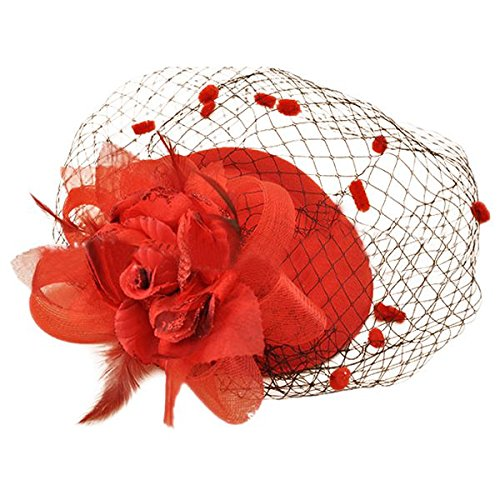 SODIAL Hair Clip Headband Pillbox Hat Bowler Feather Flower Veil Wedding Party Hat red -