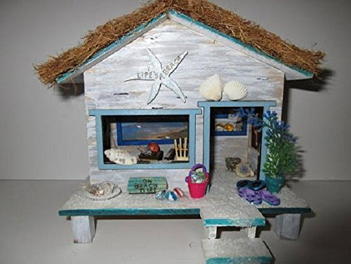 Fairy Garden Miniature Beach Hut Cottage OOAK, cabana, house, door, accessory, life's a - Garden Hut