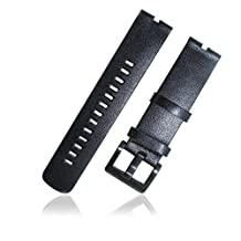 XIEMIN 22MM Leather Strap Watch Band for Motorola Moto 360 1st gen Smart Watch with Free Screen Protector and Spring Bar Jeweler Tool(Black Leather Strap)