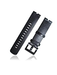 Lucco Watchbands Watch Band Strap Bracelet Wristband for Motorola Moto 360 Smart Watch with Free Set of Screen Protector and Spring Bars (leather black)