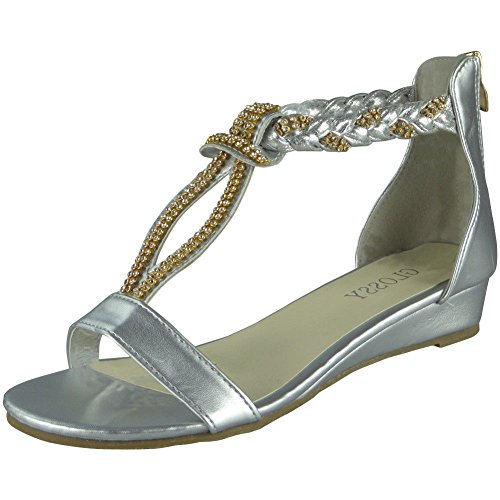 Loud Look Womens Studded Gladiator Sandals Ladies T-Bar Comfy Low Wedge Heel Shoes Size 3-8 Silver m7oPymEcc