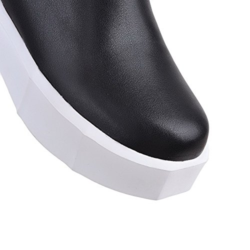 High Kitten Round top PU Boots Black AllhqFashion Closed Toe Heels Womens Assorted Color RqYCIY