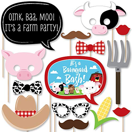 (Big Dot of Happiness Farm Animals - Baby Shower or Birthday Photo Booth Props Kit - 20)