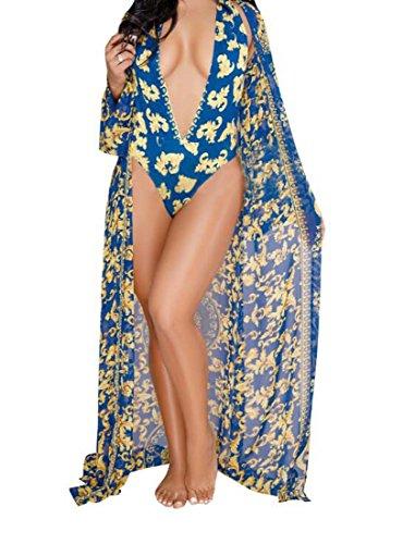 de Taille Manteau Maillot Sexy Bain Bleu Couleur de XIAOXAIO M Impression divis Mode TwpBx