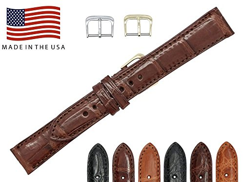 20mm Brown Genuine Crocodile – Matte Padded Stitched – American Factory Direct - Replacement Watch Band Strap - Gold & Silver Buckles Included – Made in The USA by Real Leather Creations FBA469 LT