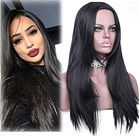 Amazon Com Asulis Synthetic Long Full Wig Straight Black Hair Wigs For Black Women Middle Part Wig Natural Looking Wig Heat Resistant Wig 26 240g