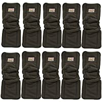 Image: Ohbabyka Cloth Diaper Inserts | 5-Layer Washable Charcoal Bamboo Inserts | Will fit any baby pocket cloth diaper / cover including adult | maximum absorbency and best protection for your baby's skin
