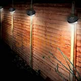 HuntGold 1X Outdoor Solar Powered Power LED Lamp Lights Lighting Garden Path Wall Fence Lawn(warm white)