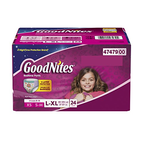 Goodnites Bedtime Bedwetting Underwear for Girls, 24 bedtime pants, Large/X-Large