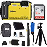 Nikon Coolpix W300 Digital Camera (Yellow) with 16GB SD Card & Accessory Bundle