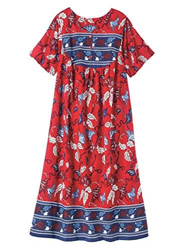 Caftan Muumuu - AmeriMark Long Cotton Muumuu Plus Size Red