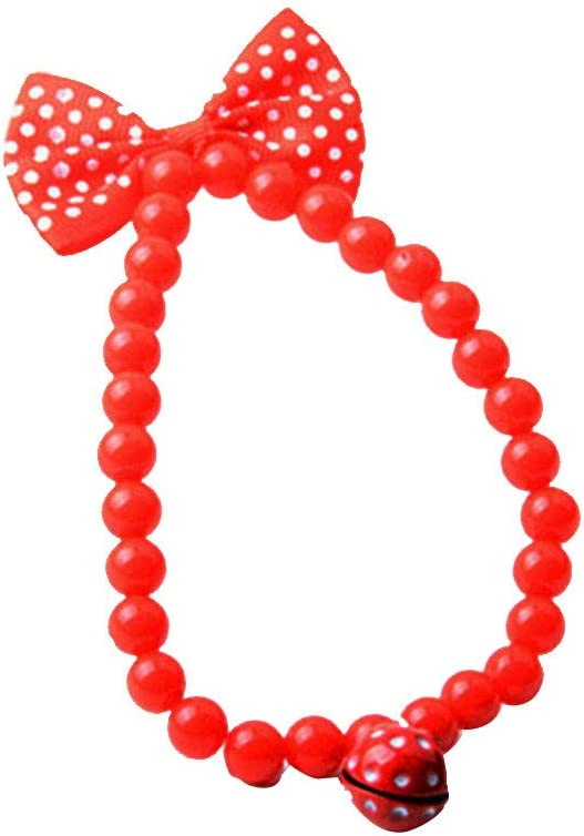 Fancy Dog Necklace Acrylic Bead Necklace Jewelry with Strawberry Bell for Pets Cats Small Dogs Red