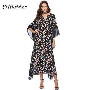 ASGHILL Boho 4Xl tallas grandes ropa de mujer nuevo estilo largo vestido de verano batwing manga