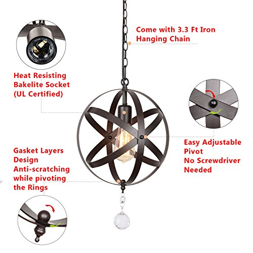 Creatgeek Industrial Globe Chandelier with 15 Ft Plug in Cord, Metal Hanging Chain and On/Off Dimmer Switch, Perfect Vintage Oil Rubbed Bronze Orb Swag Pendant Lights for Home Decor by Creatgeek (Image #3)