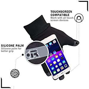 Outdoor Touch Screen Gloves - Winter Warm Gloves, Thermal Driving Gloves Cycling Running Gloves Texting Gloves for Men & Women (Black, L)