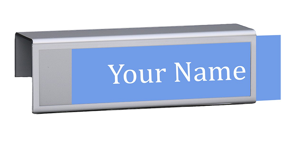 Cubicle Name Plates 8-1/2'' wide x 2-1/2'' high Sign Holder - Hangs on 2'' Thick Cubicle Wall for a 2'' inch x 8'' inch Clear Display Window with Silver Border (12 Pack)