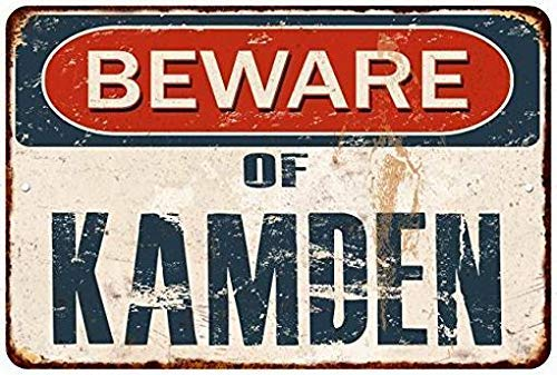 (HarrodxBOX Beware of Kamden Rustic Distressed Look Hi Gloss Metal Signs Funny Aluminum Sign for Garage Home Yard Fence Driveway)